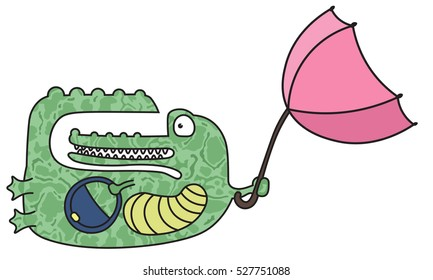 Crocodile with an umbrella flying through the air
