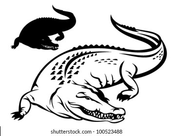 crocodile vector illustration - black and white outline and silhouette