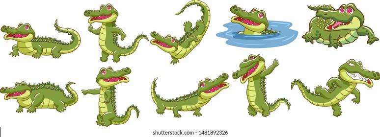 crocodile vector set graphic clipart