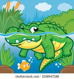 Crocodile in the water, Cute vector