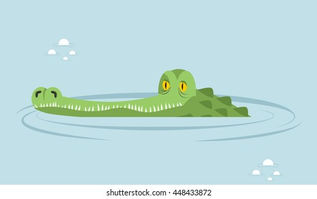 Crocodile in water. large alligator in swamp. Cute caimans head in river basin. Wild African animal. Big reptiles. Huge Africa predator. Tropical aggressive beast