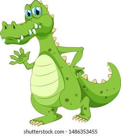 Crocodile waving hand on white background illustration