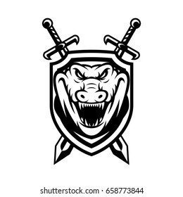 crocodile wild animal head mascot vector illustration logo