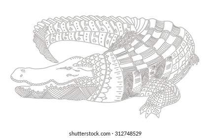 Crocodile zentangle stylized, vector, illustration, pattern, freehand pencil, hand drawn, lace