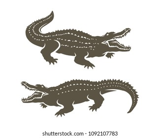 Crocodiles' Shapes isolated on white background.Vector illustration.