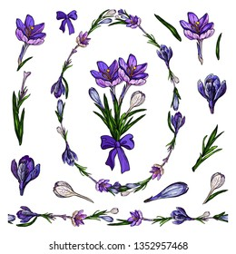 crocus tangle in shape of egg with vector  floral romantic elements for seasonal holiday and  spring design