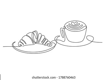 Croissant and coffee drawn in one line style. Breakfast theme with linear pastry and coffee for logo and posters, simple sketch design. Vector illustration isolated on white background