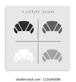 Croissant flat black and white vector icon.