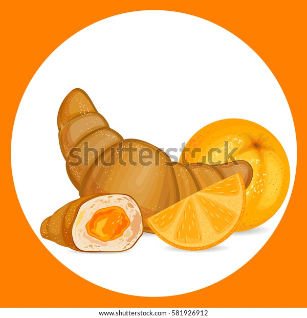 Croissant with orange icon. Vector illustration.