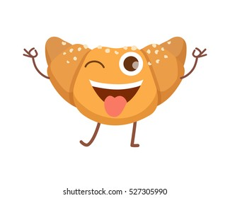 Croissant smiling icon. Sweets. Happy bun in simple cartoon style. Isolated fresh baked roll with one opened eye and raised hands standing on two legs. Some white crumbs. Flat design. Vector