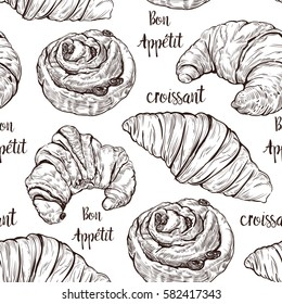Croissant and sweet buns pattern. Seamless background with a french croissant. Hand drawn sketch.