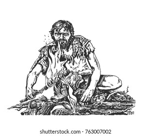 Cro-Magnon with a torch. Graphic sketch