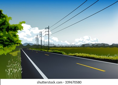 crook road and electric post landscape vector