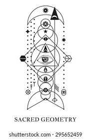 Crop circles, space gate and magic symbols - tantric buddhism symbol.  Alchemy, religion, spirituality, occultism, tattoo art. Black and white.