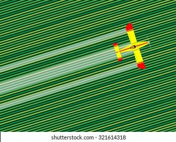 Crop duster airplane spraying a farm field. Vector illustration.