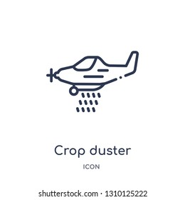 crop duster icon from transportation outline collection. Thin line crop duster icon isolated on white background.