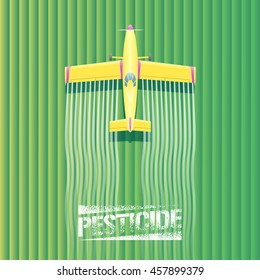 Crop duster plane vector illustration. Aerial view of flying airplane spraying green farming field. Design concept element with pesticide sign, crop duster, landscape for poster