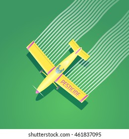 Crop duster plane vector illustration. Aerial view of flying airplane spraying pesticide, herbicide farming field. Design concept element for pest control, cultivation, agriculture with crop duster