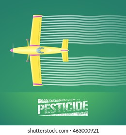 Crop duster plane vector illustration. Aerial view of flying airplane spraying green farmland. Design concept element for pest, bug control, agricultural technology with pesticide sign and crop duster