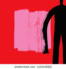 Cropped Dark Human Figure Illustration, Abstract, Paint Texture, Red Background, Vector, Book Cover, Art, Art Catalog Design, Modern Art Concept, Brush Stroke, Gallery Curator Concept, Dark Character