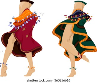 Cropped Illustration of Belly Dancers Performing a Dance