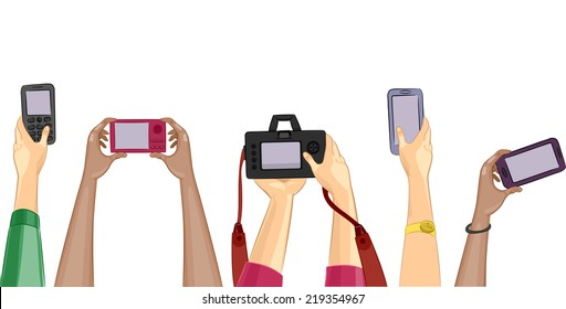 Cropped Illustration Featuring People Holding Different Cameras