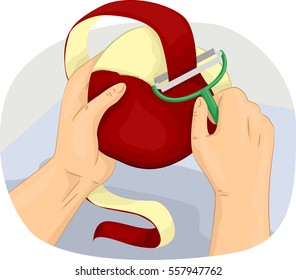 Cropped Illustration of a Man Peeling the Skin of an Apple to Eat it as a Snack