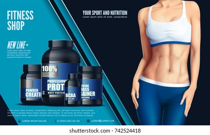 Cropped image of sexy beautiful sportswoman in the sport tights and the bra, and set of bottles with sport nutrition. Vector illustration.