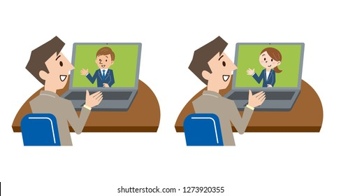 Cropped image of young businessman video conferencing on laptop at desk in office