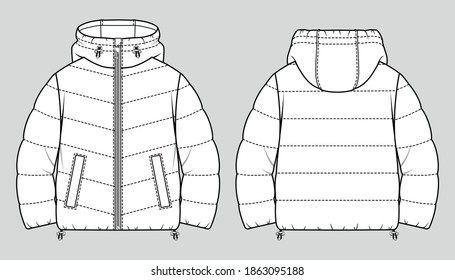 Cropped puffer winter down coat. Women oversized quilting jacket. Vector technical sketch. Mockup template.