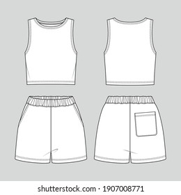 Cropped tank top and shorts. Jersey sporty set. Vector technical sketch. Mockup template.