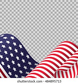 Cropped waving American flag on transparent background