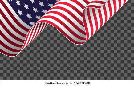 Cropped waving American flag on transparent background. Vector illustration,