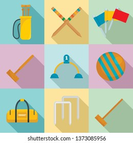 Croquet icons set. Flat set of croquet vector icons for web design