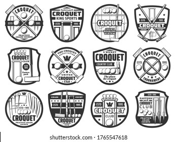 Croquet sport icons, equipment and items, country team club tournament vector emblem. Croquet playing equipment items, crossed bats, balls and wicket hoops, croquet club association and booking signs