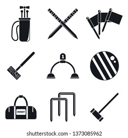 Croquet sport icons set. Simple set of croquet sport vector icons for web design on white background