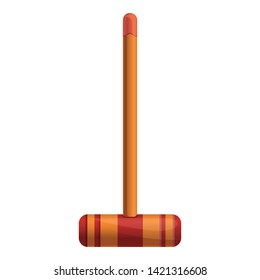 Croquet wood mallet icon. Cartoon of croquet wood mallet vector icon for web design isolated on white background