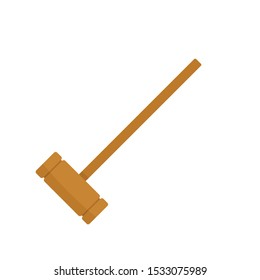 Croquet wood mallet icon. Flat illustration of croquet wood mallet vector icon for web design