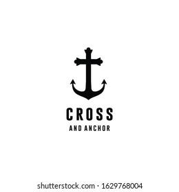 Cross with Anchor logo design inspiration