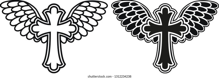 Cross With Angel Wings Stock Illustrations Images Vectors