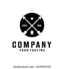 Cross arrow / arrowhead, spear vintage logo