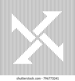 Cross from arrows icon. Vector. White icon on grayish striped background. Optical illusion.