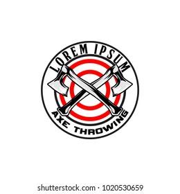 cross axe for axe throwing vector logo template