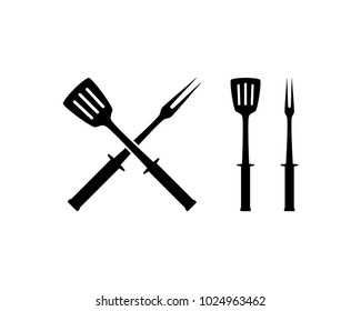 Cross Barbecue Tool for Restaurant Symbol Template Logo Vector