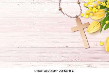 Cross, beads, mimosa branch and yellow tulips on pink rustic wooden background. Vector illustration