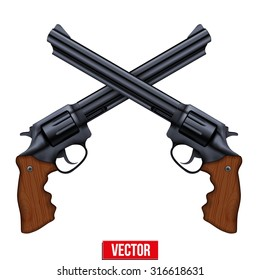 Cross of Big Revolvers. Black gun metal. Vector Illustration isolated on white background.