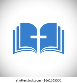 Cross and book blue logotype concept. Open book, pages. Logo idea. E-book or e-bible icon, religious symbol. Cut out brand sign. Isolated abstract graphic web design template. The word of God symbol.