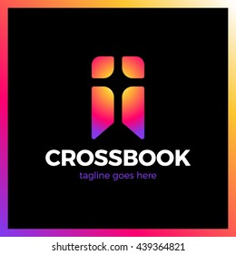 Cross Bookmark Logo. Bible Book Logotype. Simple Church Logos Radial Rainbow gradient