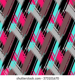 Cross brushstrokes seamless bold pattern. Vector texture. Hand painted.