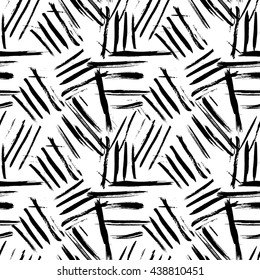 Cross brushstrokes seamless bold pattern. Vector texture. Hand painted.  retro fashion style 80s - 90s. Black and white